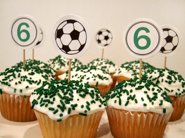 soccer birthday party cupcake toppers