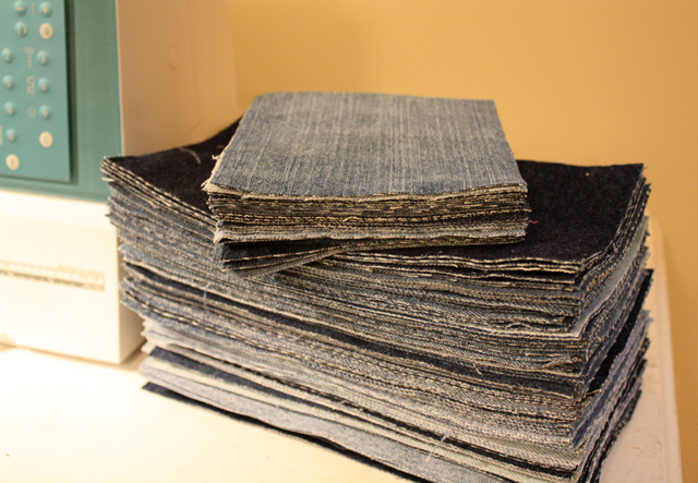 stack of denim rectangles