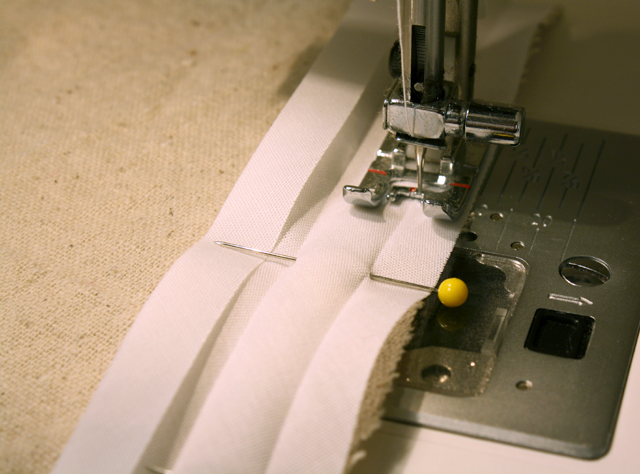 sewing on white bias tape