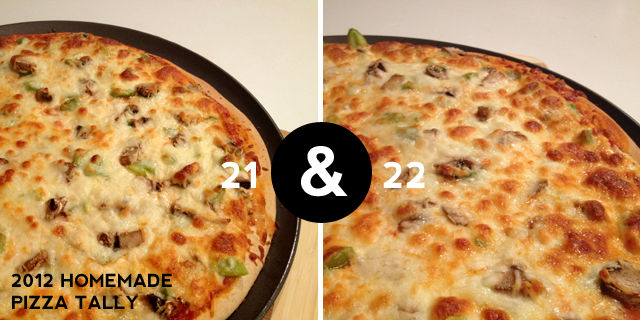 2012 homemade pizza tally - 21 and 22
