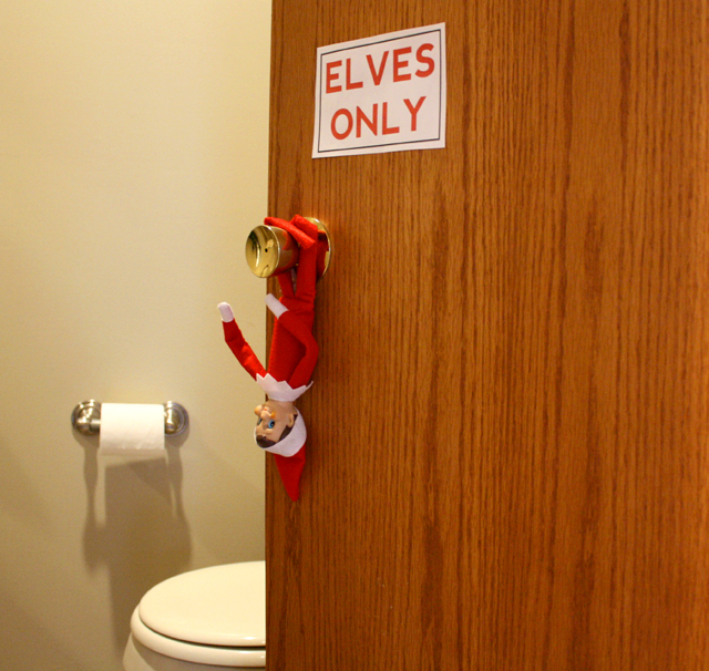 Elf on the Shelf bathroom sign - ELVES ONLY