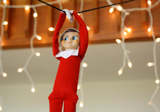 Elf on the Shelf: zipline