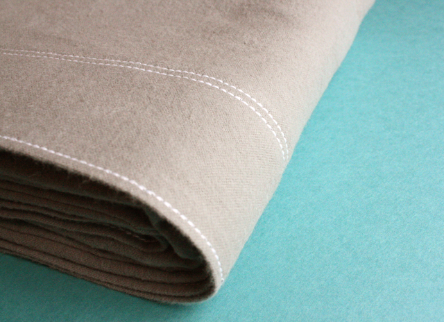 gray flannel pillowcase with topstitching