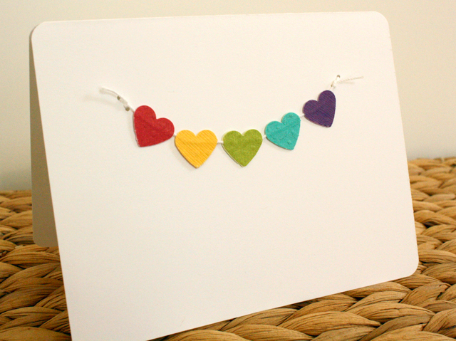 paper heart bunting card