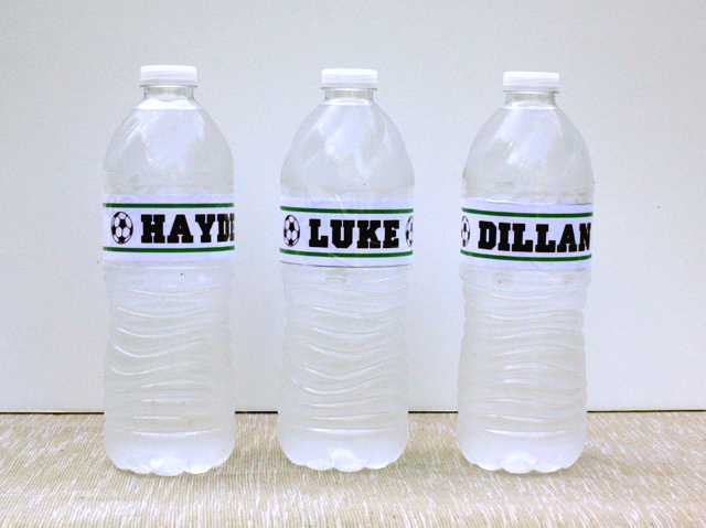 soccer party water bottles