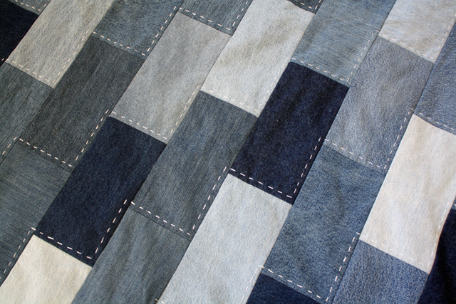 denim quilt with hand stitching