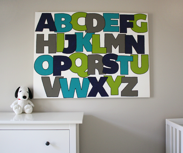 giant painted canvas alphabet art