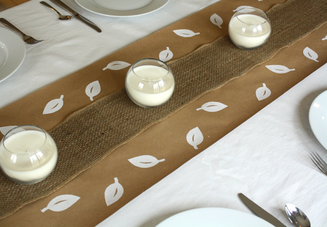 hand-stamped paper table runner