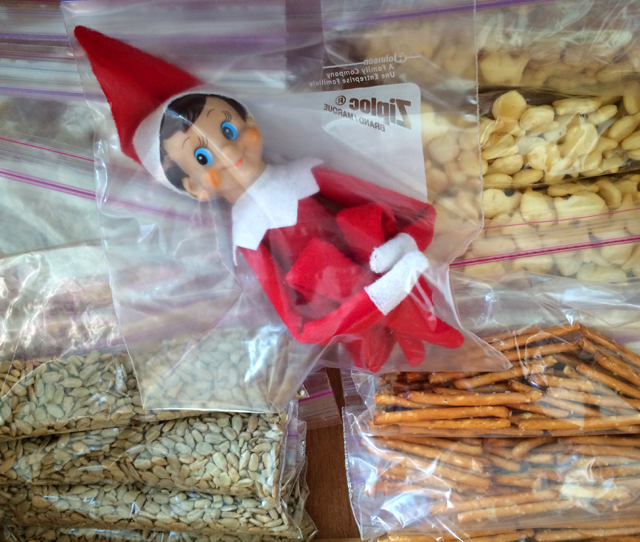 Elf on the Shelf in our snack drawer