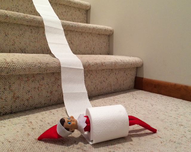 Elf on the Shelf - rolled down the stairs in a toilet paper roll