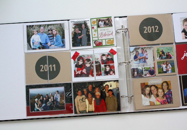 Christmas card photos in Project Life album
