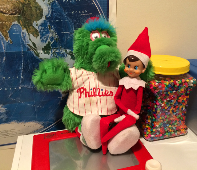 Elf on the Shelf: telling the Phillie Phanatic what he wants for Christmas