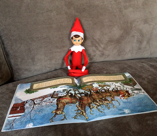 Elf on the Shelf: reading Twas the Night Before Christmas