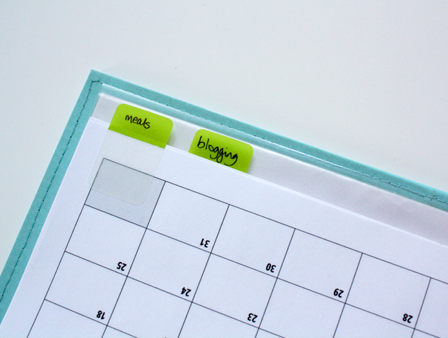 monthly menu planning calendar with post-it tabs