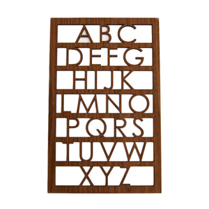 Modern Alphabet Wall Art in either maple or walnut. Sponsored by Little Sapling Toys.