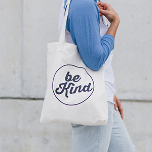 """Be Kind"" tote bag. Sponsored by The Kindred Street."
