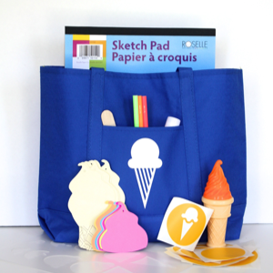 A summertime craft pack + tote bag. Sponsored by Cloudy Day Gray.