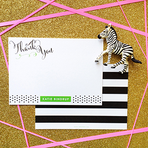 A set of personalized notecards sponsored by SHE PAPERIE + design boutique.