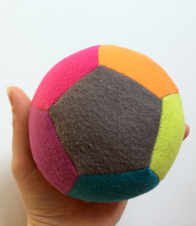 patchwork ball made with English paper piecing