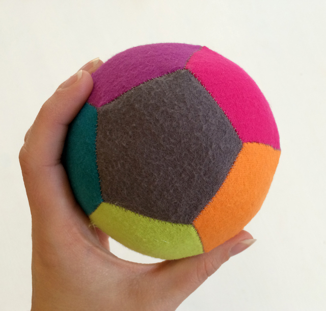 stuffed patchwork ball made with English paper piecing