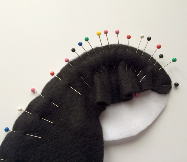 pinning fleece on a curve